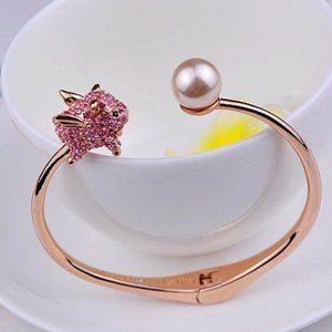 Kate Spade Zircon 3D Pink Pig Pearl Open Bracele